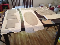 Here you see the rolled and prepped slab along with cut sides