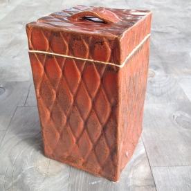 Orange Red pillow texture box, closed