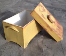 "One of the larger boxes, open, 6 x 4 1/2 x 8"" Sumiko's white glaze on the inside"